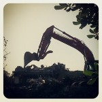 Photo of bull-dozer at demolition of 3400 Montrose, 2014
